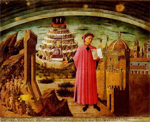 El camino que sigue Dante es en forma de espiral