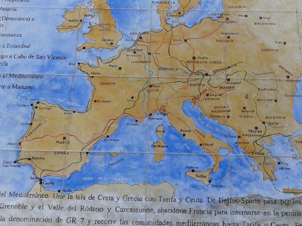 Mapa del sendero que une a Ceuta con Delfos