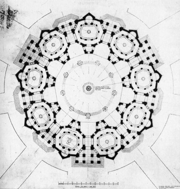 Planta del templo  Baha'i 1922  por  Frank C.Mears y  Patrick Geddes.