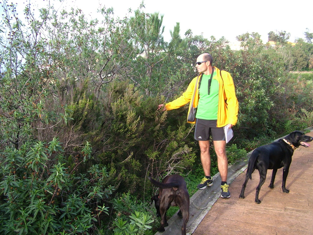 Mi amigo, el biólogo marino Óscar Ocaña acompañado de uno de sus perros