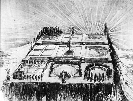 Jardín para las nueve Musas,perspectiva,c,1913-1914 por Adrian Berrington a partir de las ideas de  Patrick Geddes