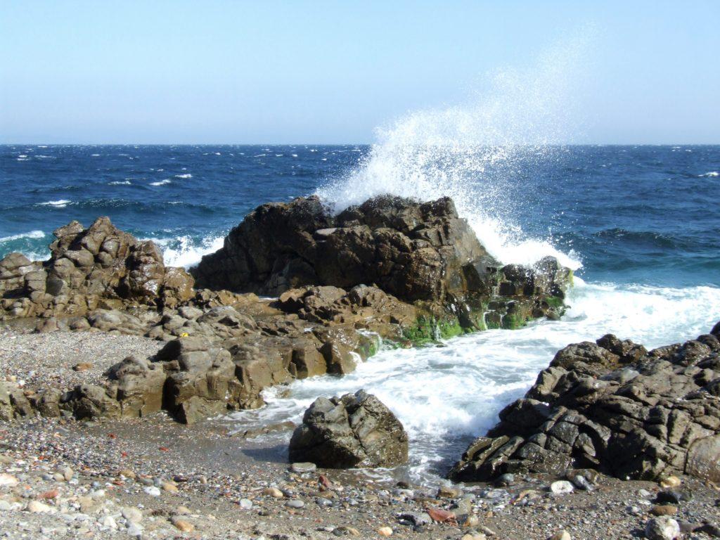 Olas rompiendo contra los arrecifes costeros
