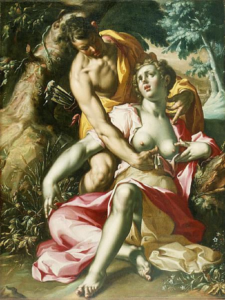 Muerte de Procris por Joachem Wtewael (circa 1595-1600)